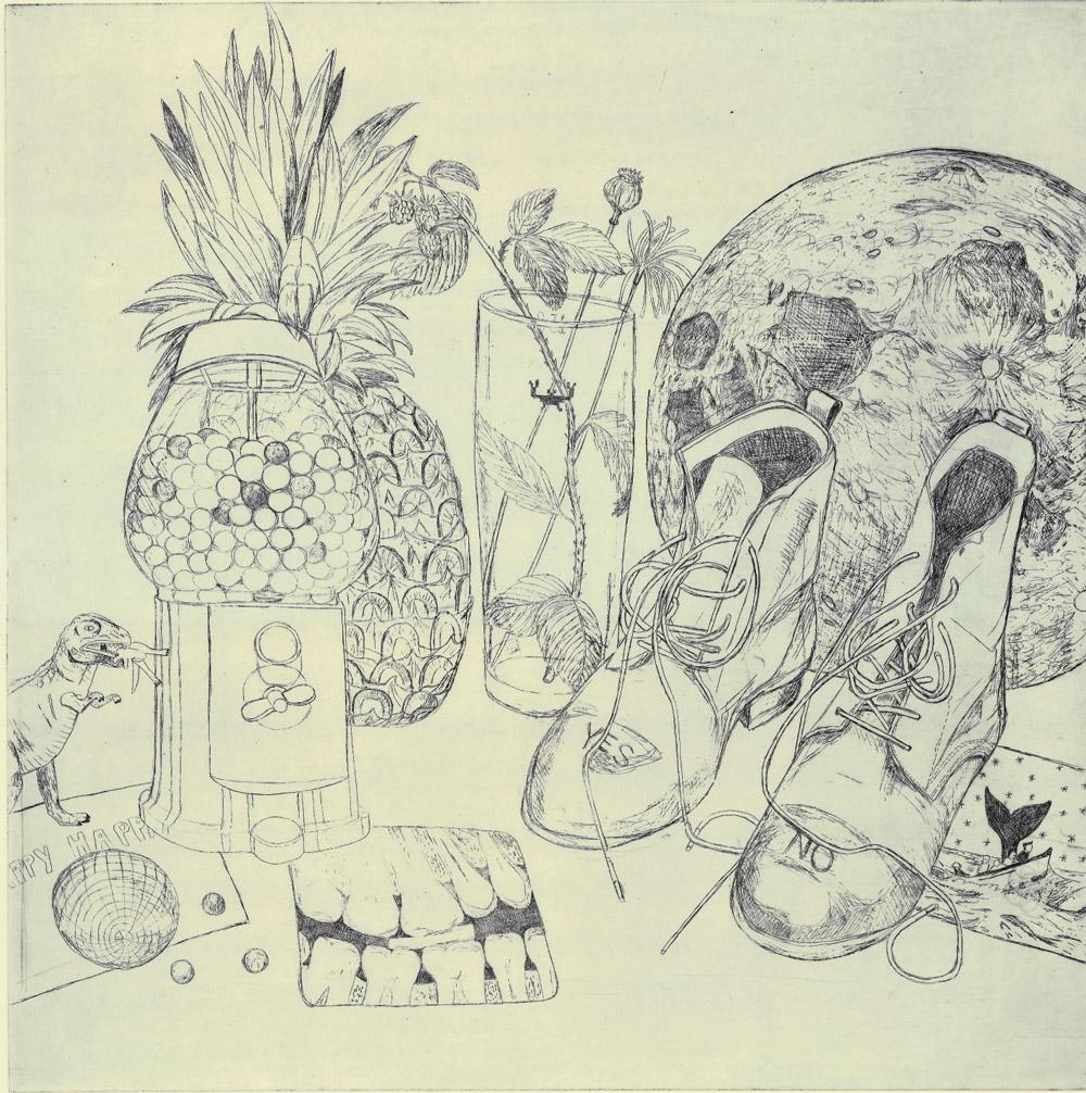 Und Wangenküsse nach allen Seiten, es gibt ein Nektarmeer am Erdenmond!, Radierung, 50x50cm, 2014