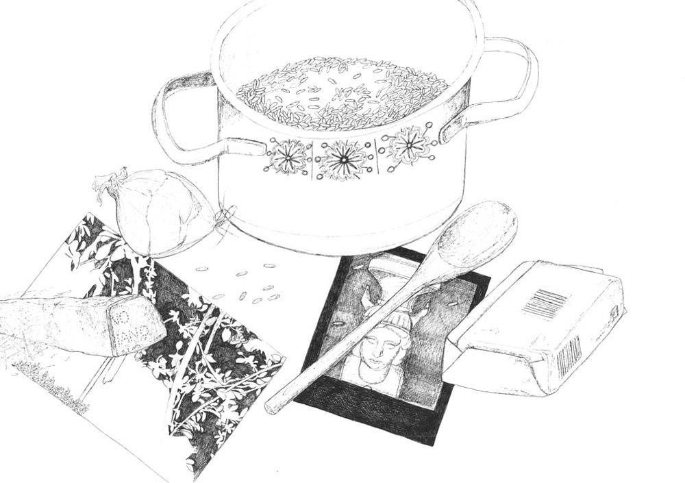 20)B.B. is cooking risotto; Zeichnung mit Tuschestift; 42x29,7cm; 2014;
