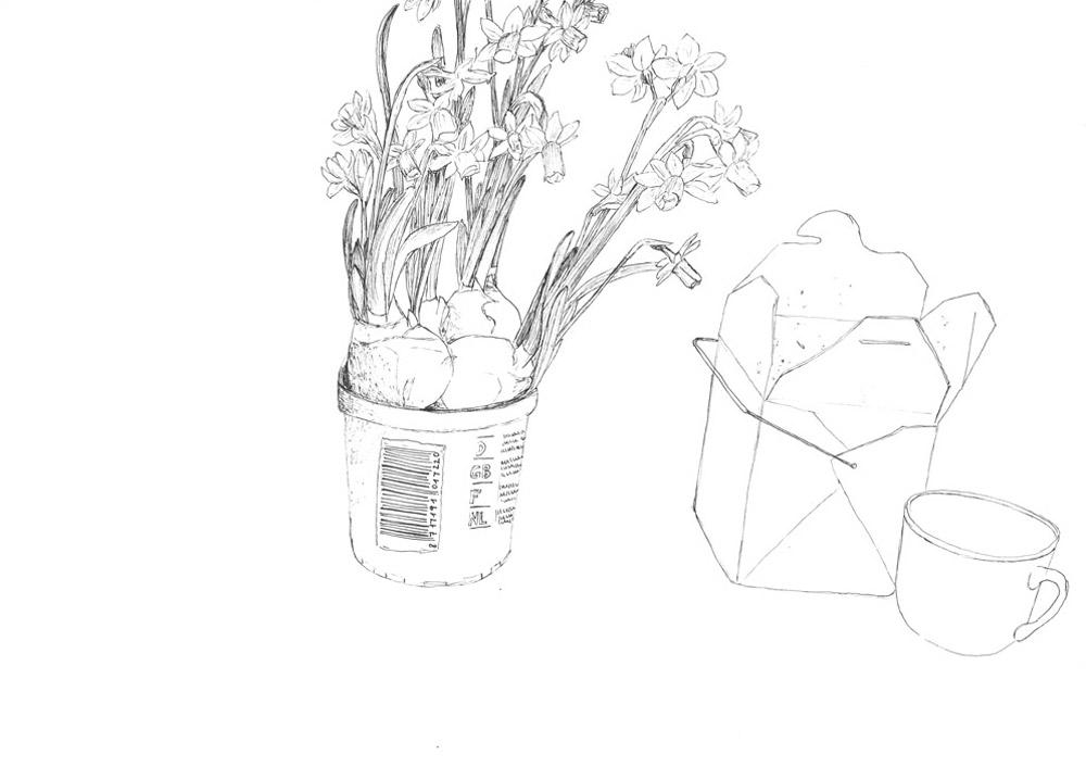 19)L. war zu Besuch; Zeichnung mit Tuschestift; 42x29,7cm; 2014