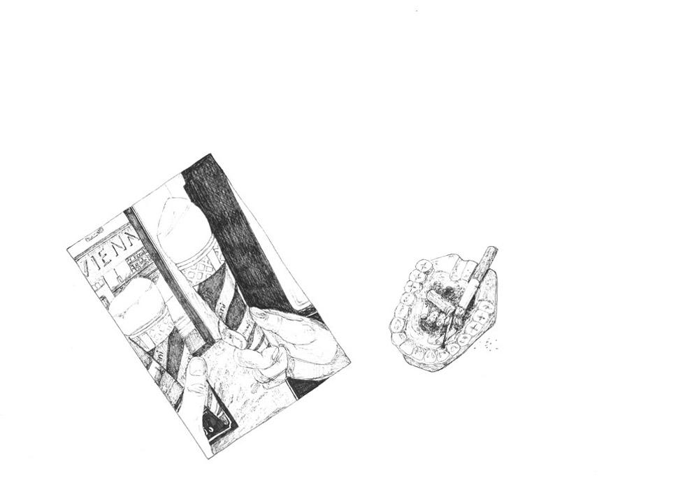 22)Pistazieneis; Zeichnung mit Tuschestift; 42x29,7cm; 2014