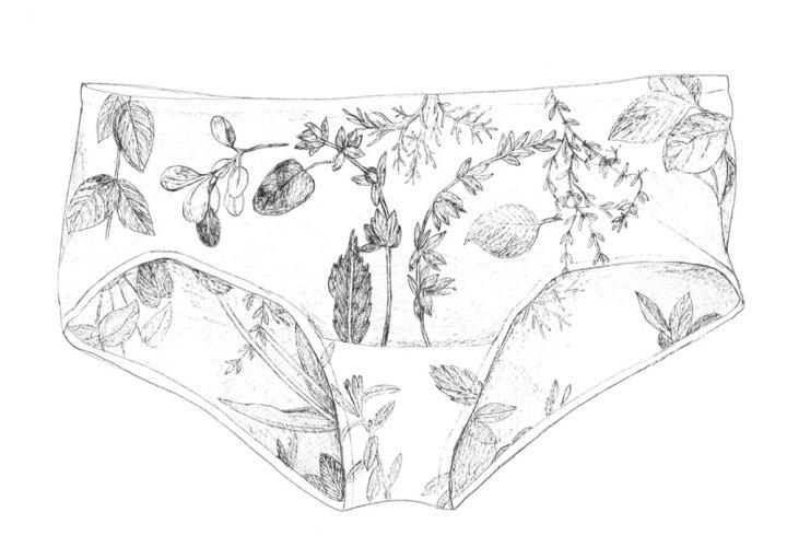 Unterhose, ungetragen; Zeichnung mit Tuschestift; 42x29,7cm; 2014