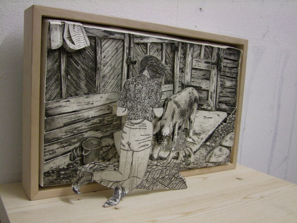 Picknick mit Frau Schwein, Radierung/Collage/3D Bild, 2012