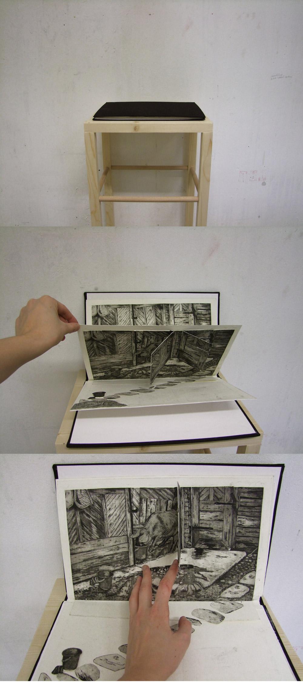 Picknick mit Frau Schwein, Collage/Radierung/Popup Buch, 2012