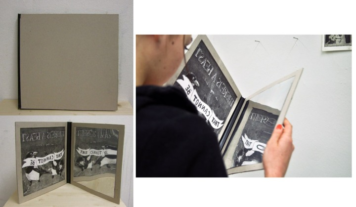 hidden message, Radierung mit Spiegelfolie, 2013