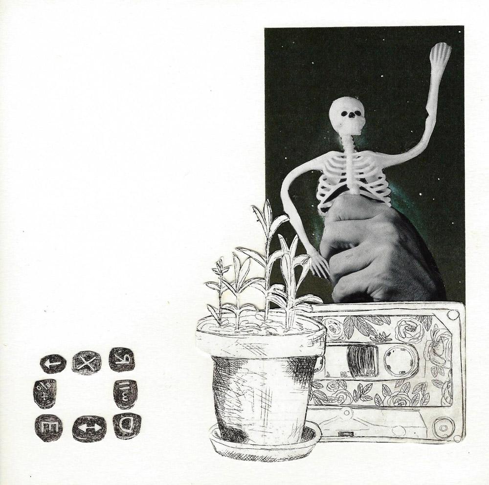 Grüße von T.B., Collage, 20x20cm, 2013